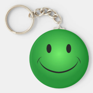 Green Smiley Keychain