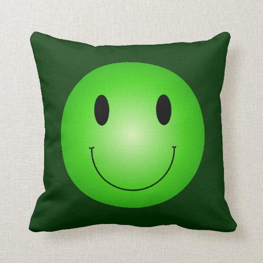 Green Smiley Throw Pillow