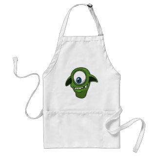 Green Smiling Alien Adult Apron