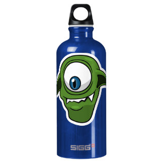 Green Smiling Alien Aluminum Water Bottle