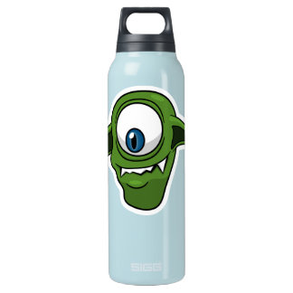 Green Smiling Alien Insulated Water Bottle