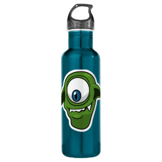 Green Smiling Alien Stainless Steel Water Bottle