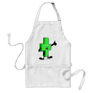 Green smiling character plus shape with thumb up adult apron