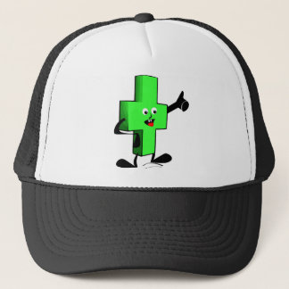 Green smiling character plus shape with thumb up trucker hat
