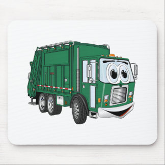 Green Smiling Garbage Truck Cartoon Mouse Pad