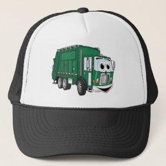Green Smiling Garbage Truck Cartoon Trucker Hat