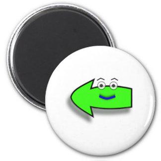 Green Smiling Left Arrow Refrigerator Magnet
