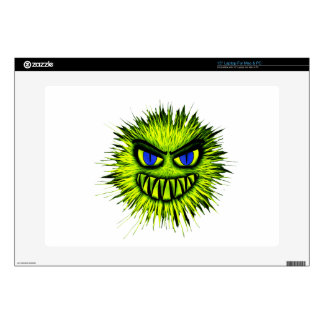 "Green Smiling Monster Decal For 15"" Laptop"