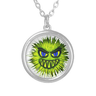 Green Smiling Monster Round Pendant Necklace