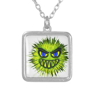 Green Smiling Monster Square Pendant Necklace
