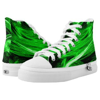 Green Smoke Fractal High-Top Sneakers