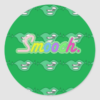 Green Smooch Classic Round Sticker