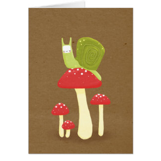 Green snail on red speckled mushrooms card