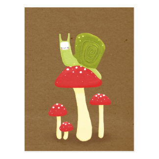 Green snail on red speckled mushrooms postcard