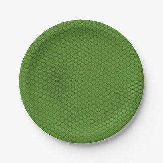 Green Snake Skin Texture Paper Plate