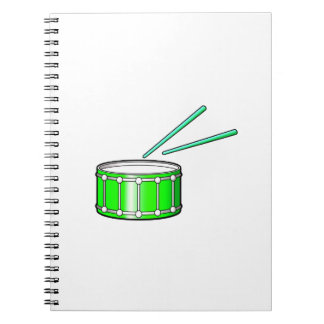 green snare graphic with sticks notebook