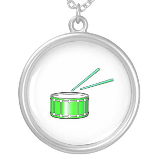 green snare graphic with sticks round pendant necklace