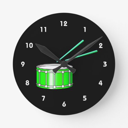 green snare graphic with sticks round wallclock