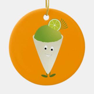 Green snow cone character ceramic ornament