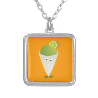 Green snow cone character necklace