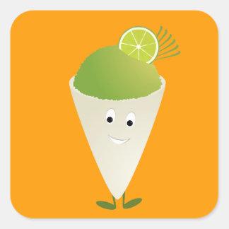 Green snow cone character square sticker