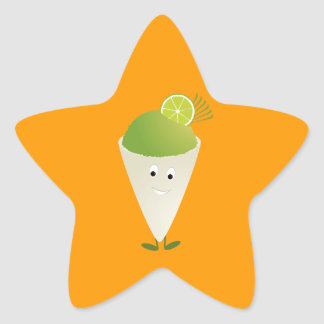 Green snow cone character star sticker