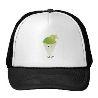 Green snow cone character trucker hat