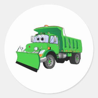 Green Snow Plow Cartoon Classic Round Sticker