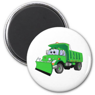 Green Snow Plow Cartoon Magnet
