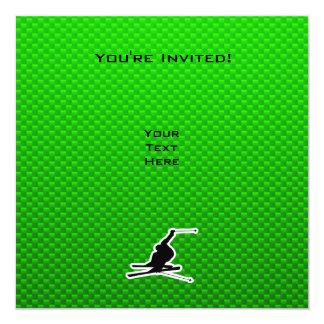 Green Snow Skiing Card