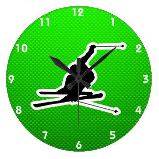 Green Snow Skiing Wall Clocks