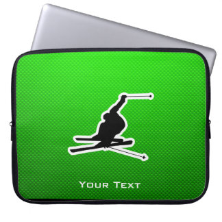 Green Snow Skiing Laptop Computer Sleeve