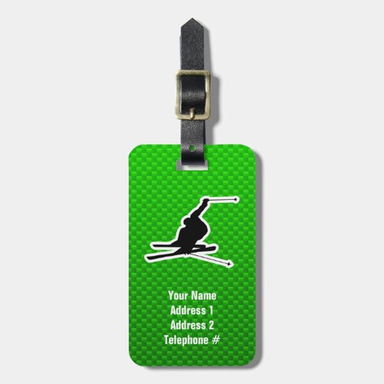 Green Snow Skiing Luggage Tag