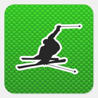 Green Snow Skiing Square Sticker