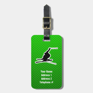 Green Snow Skiing Tag For Luggage