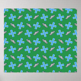 Green snowboard pattern poster