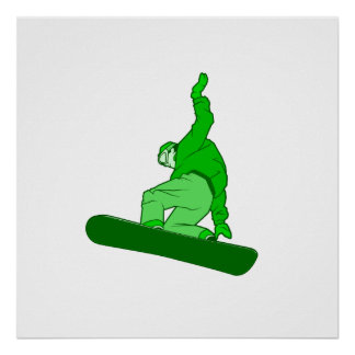 Green Snowboarder Poster