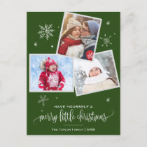 Green Snowflake | 3 Photo Christmas Holiday Postcard