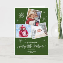 Green Snowflake | 3 Photo Christmas Photo Holiday Card