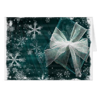 Green Snowflake and Present Card