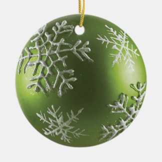 Green Snowflake Ceramic Ornament