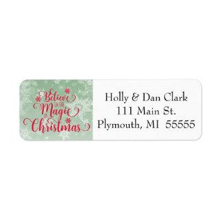 Green Snowflake Christmas Address Label