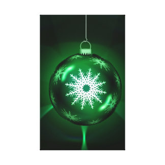 Green snowflake Christmas bauble Gallery Wrapped Canvas