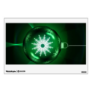 Green snowflake Christmas bauble Wall Skin