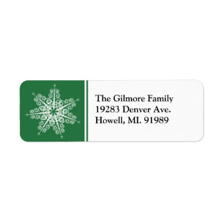 Green Snowflake Christmas Return Address Labels