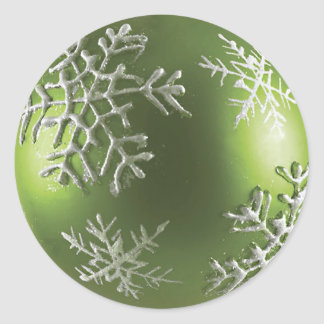 Green Snowflake Classic Round Sticker