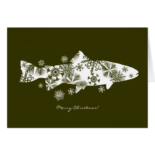 Green Snowflake Fish Holiday Greeting Card