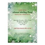 "Green Snowflake Holiday Party Card 5"" X 7"" Invitation Card"