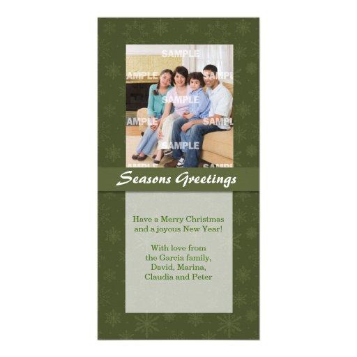 Green Snowflake Holiday Photo Card