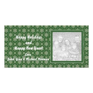 Green Snowflake Holiday Photo Cards